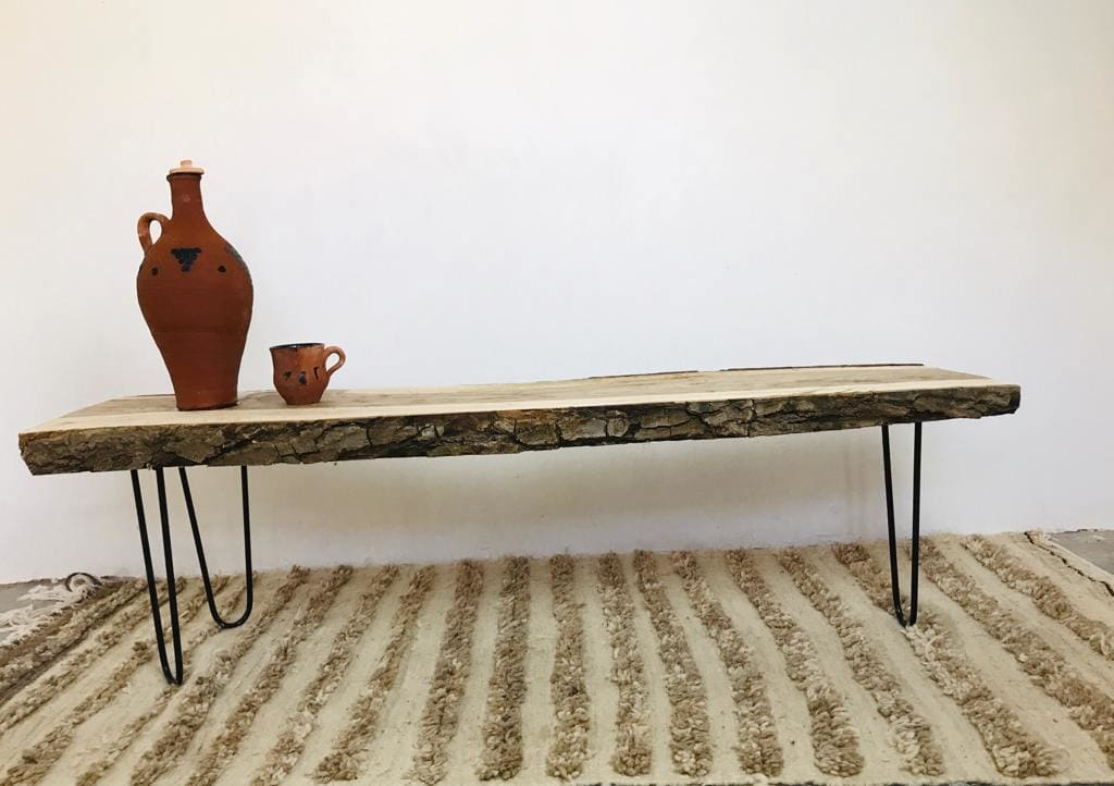Wood Table Walnut Wood Brown, Black Morocco
