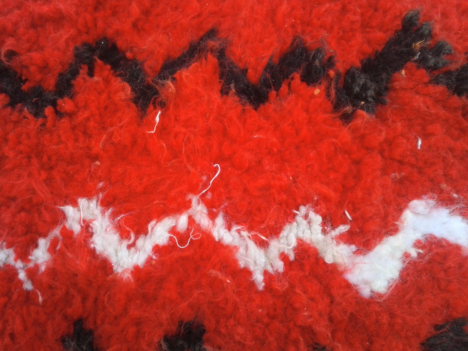 Boucharouite  Wool and Thread Red, Black Morocco