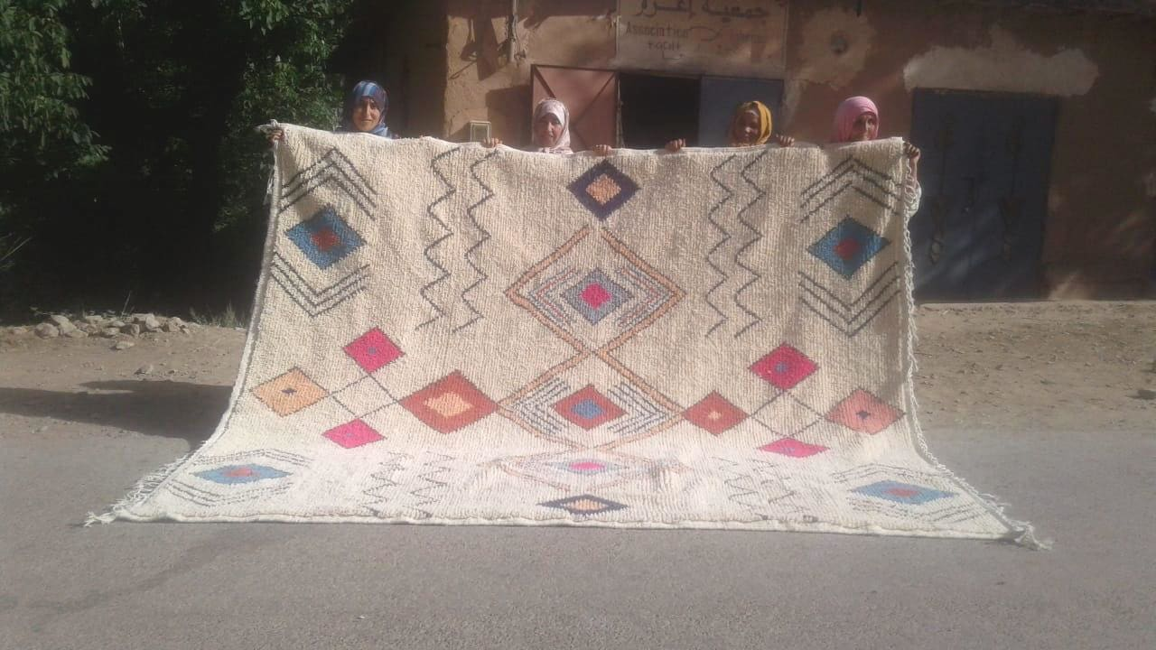Azilal Rug Wool and Cotton Warp Colored Morocco