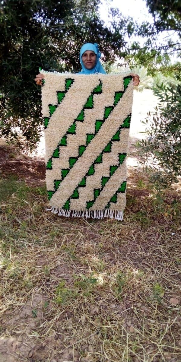 Pile Knot Rug  Green, Black Morocco