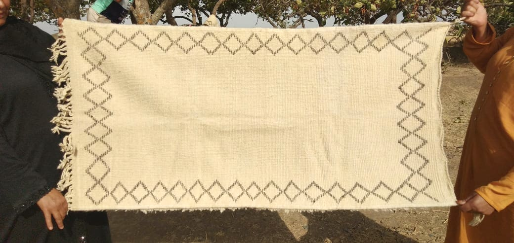 zarbia rug Sda and Kotan Grey, White Morocco