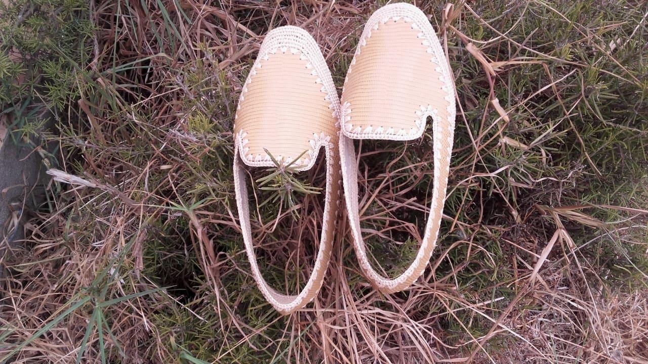 Boho Shoes Rafia fibers White Morocco