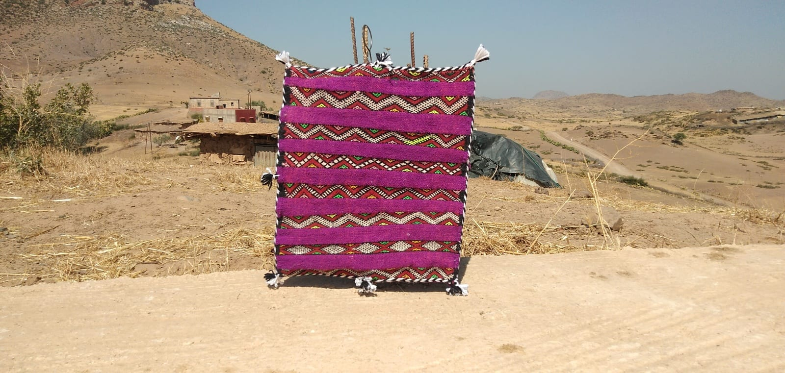 Pillow Dyed Wool and Cotton Colored Morocco