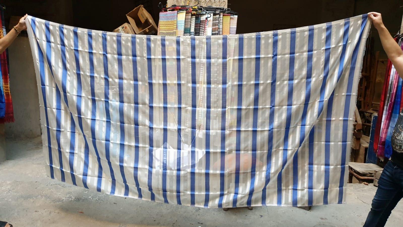Fabric  Blue, White Morocco