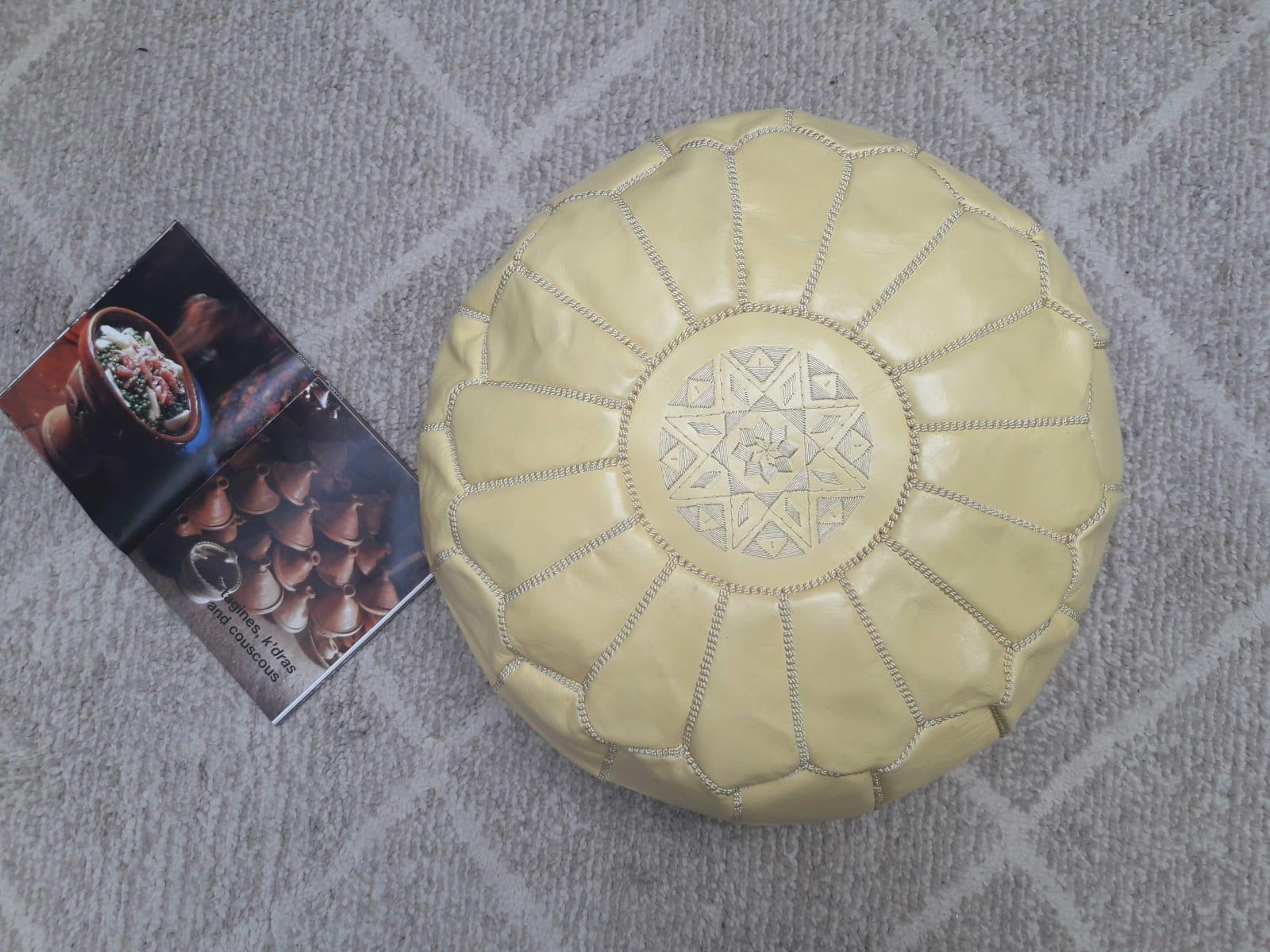Pouf leather and Sabra silk Yellow Morocco