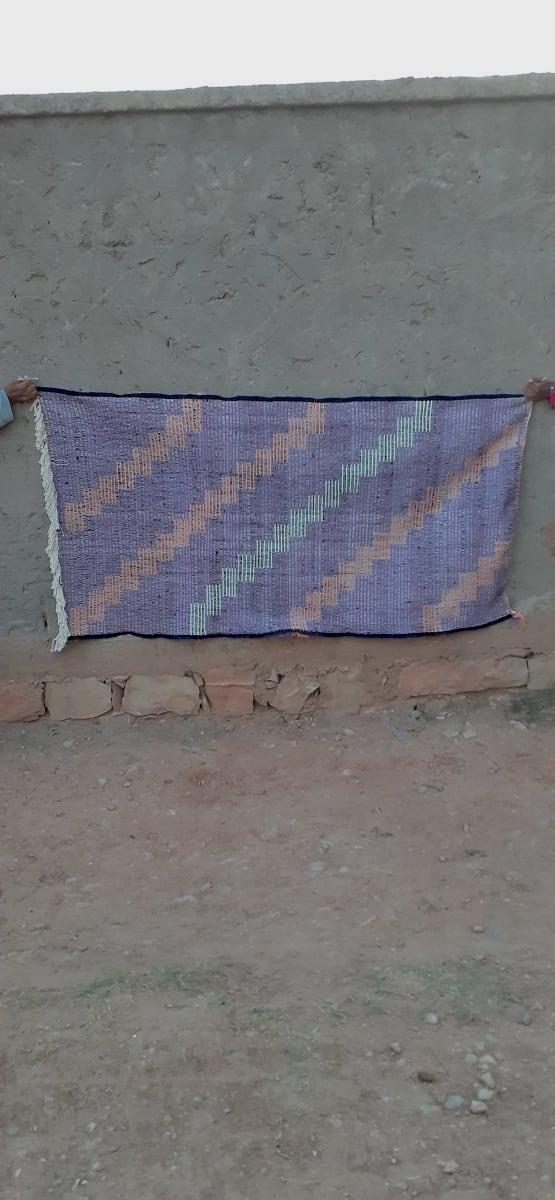 Pile Knot Rug  Purple, White Morocco