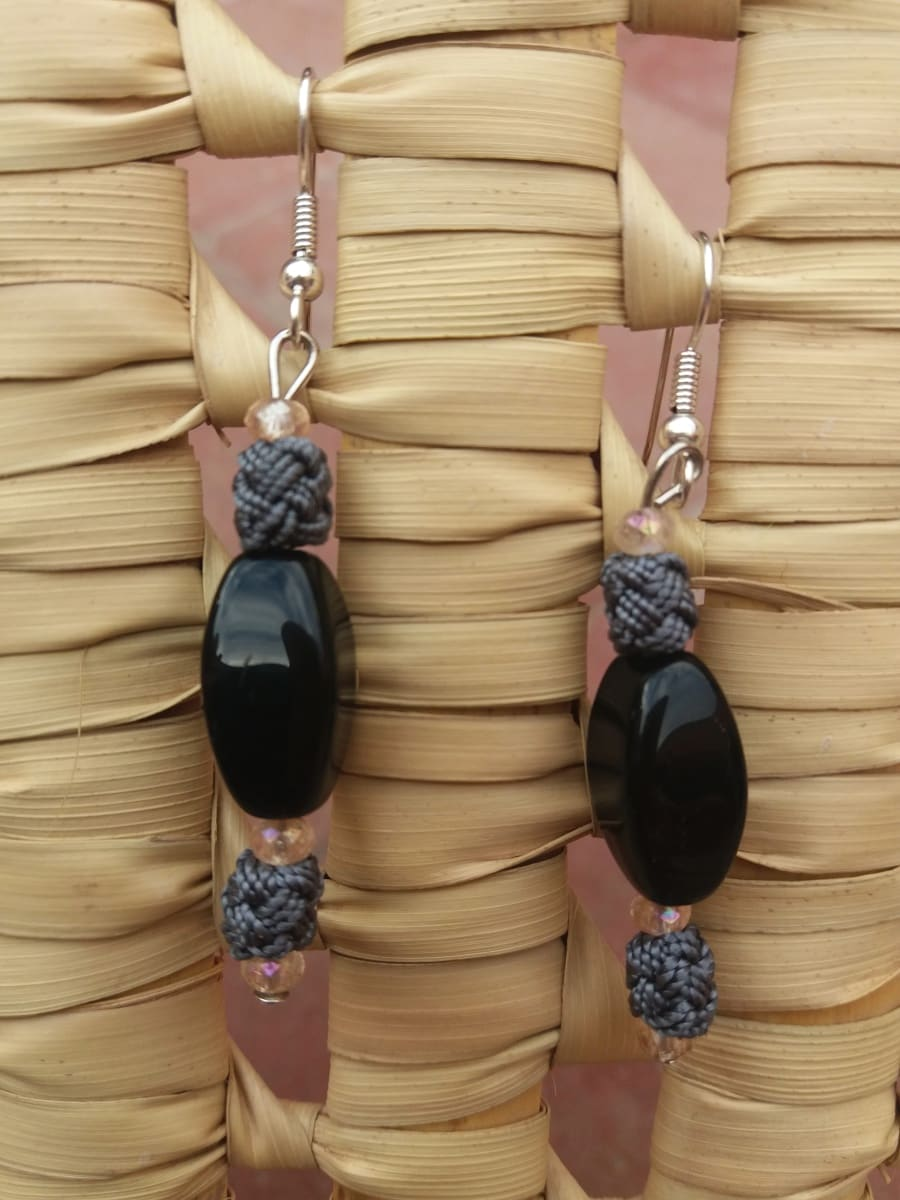 Multi Button Earrings  Pink, Grey Morocco