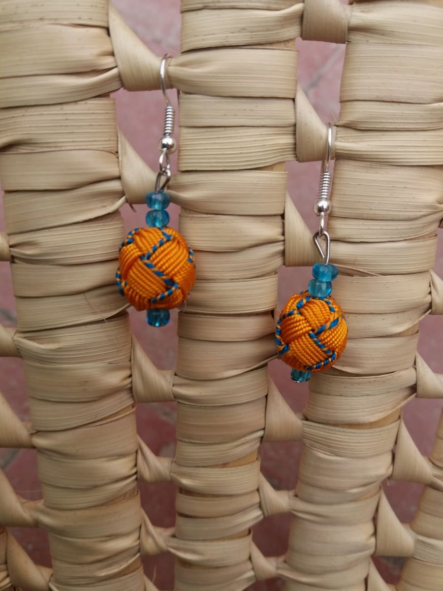 Ball and Button Earrings  Blue, Orange Morocco