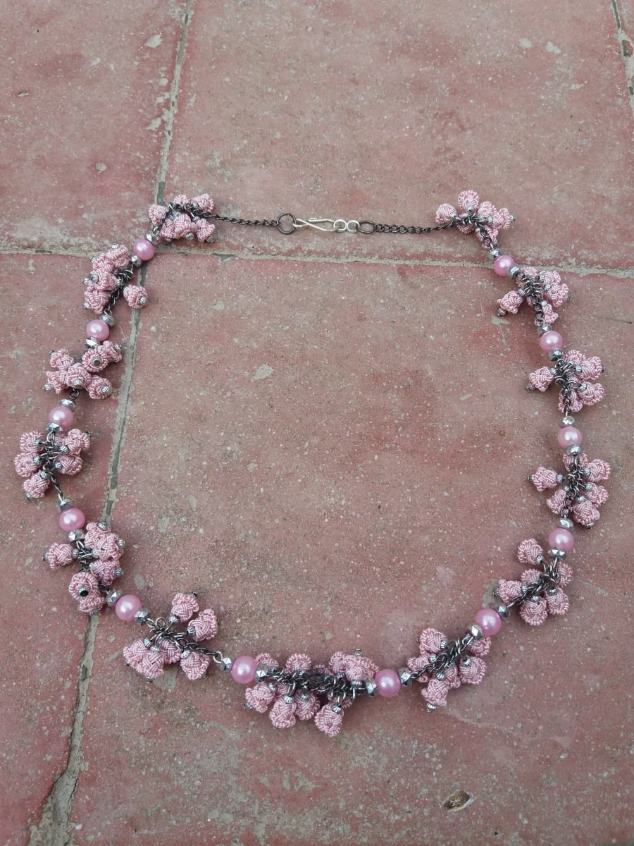 Multistrand Necklace  Pink Morocco