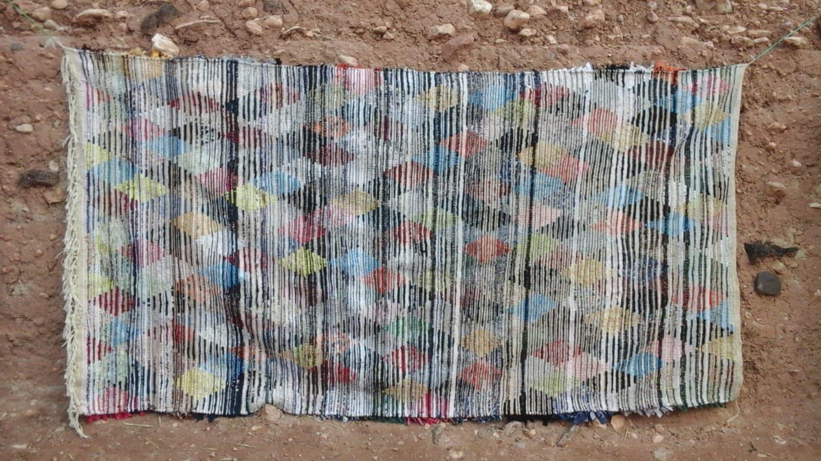 Boucherouite Rug Cotton Thread Colored Morocco