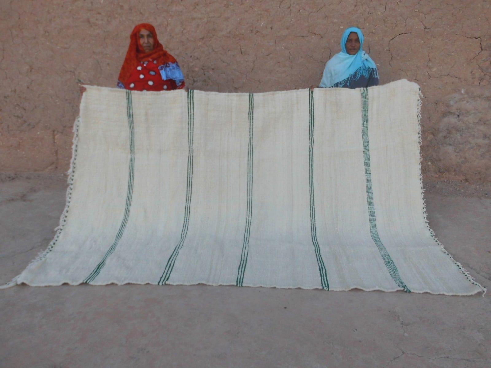 Flatweave Rug  Green, White Morocco