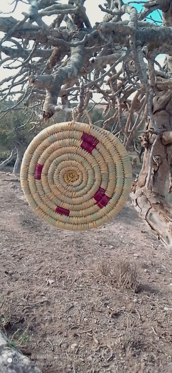 Nesting Baskets Palm Rope Red, White Morocco
