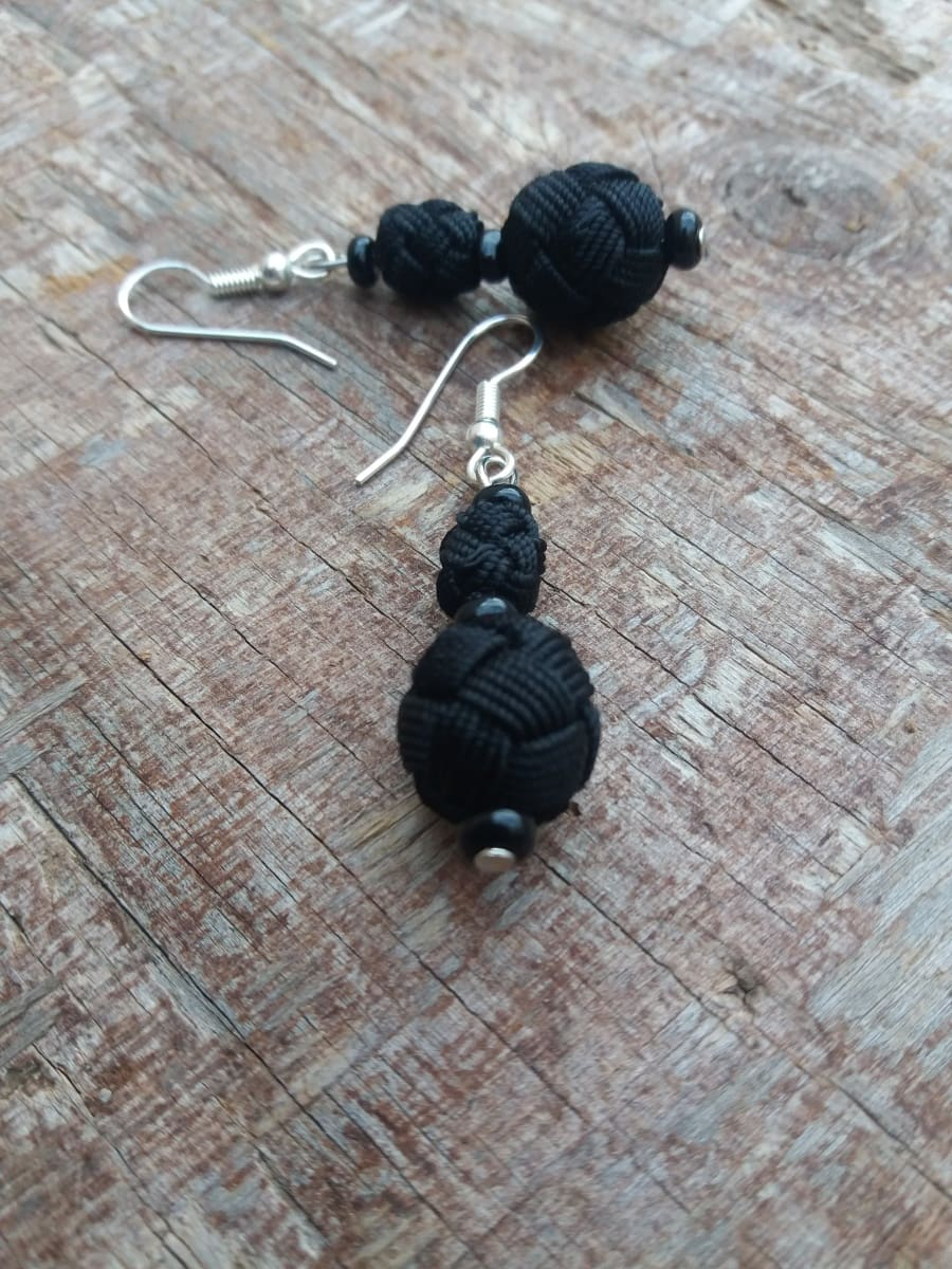 Ball and Button Earrings  Black Morocco