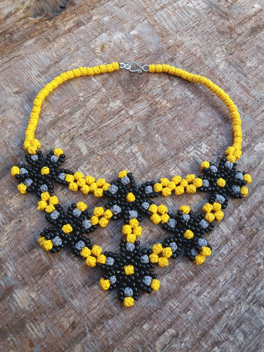 Multistrand Necklace  Yellow, Grey Morocco