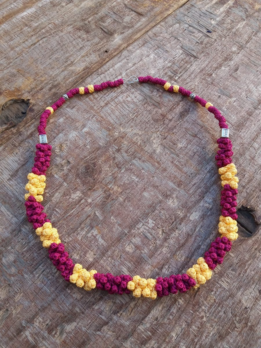 Cluster Necklace  Pink, Yellow Morocco