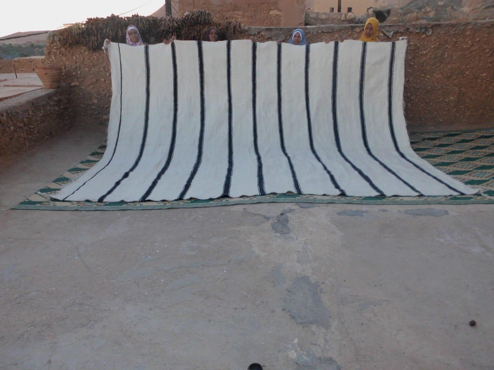 Flatweave Rug  Black, White Morocco