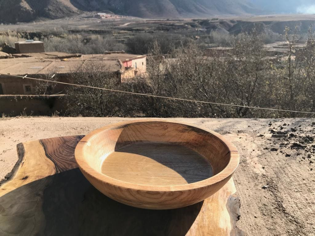 Hand Carved Bowl Walnut Wood Brown Morocco