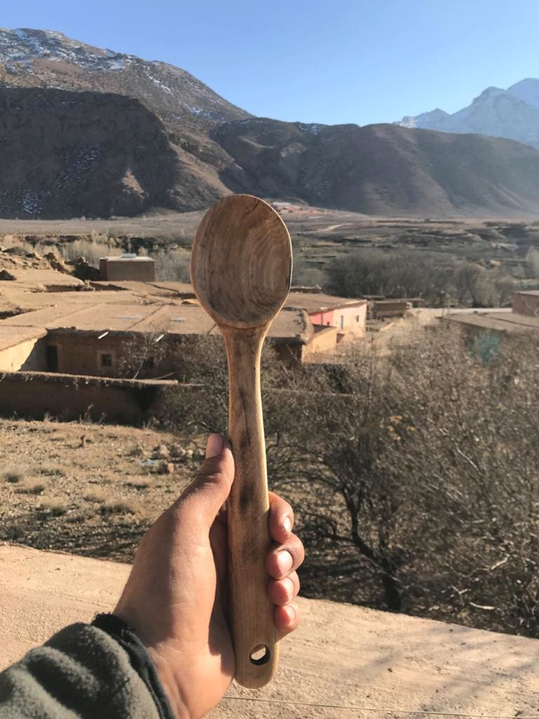 Hand Carved Spoon Walnut Wood Brown Morocco