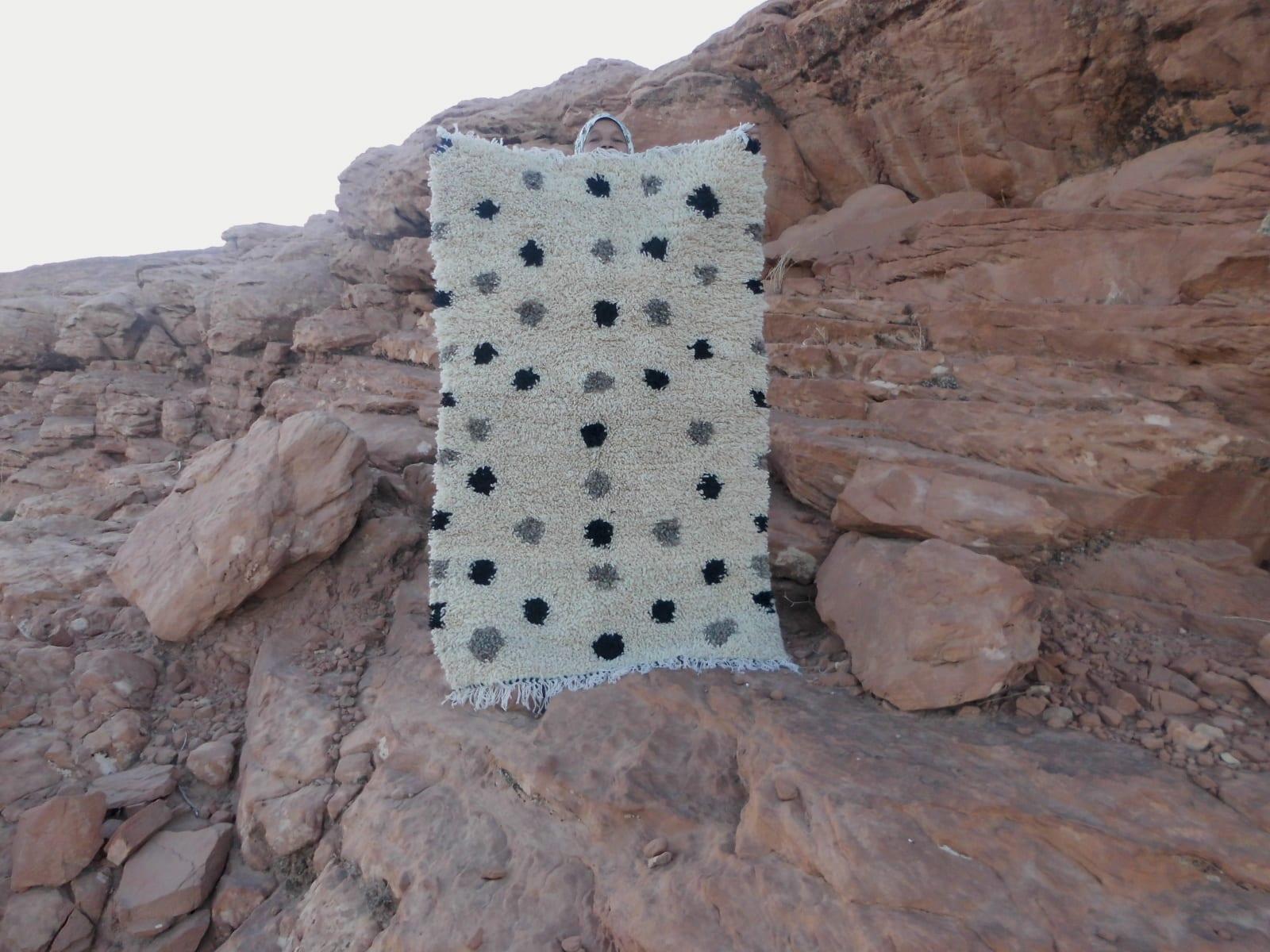 Flatweave Rug  Grey, Black Morocco