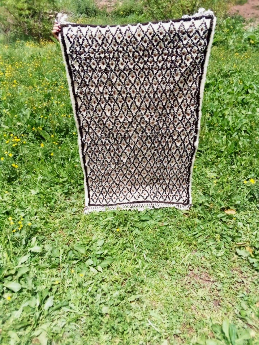 Beni Ourain Rug Thread Orange, Black Morocco