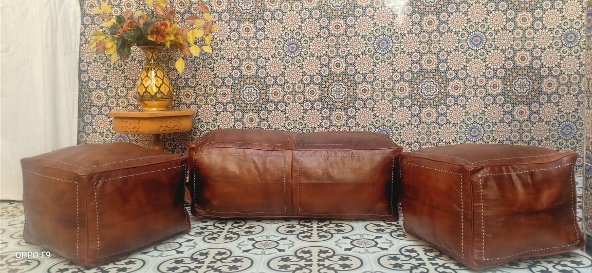 Pouf leather and Sabra silk Brown, White Morocco