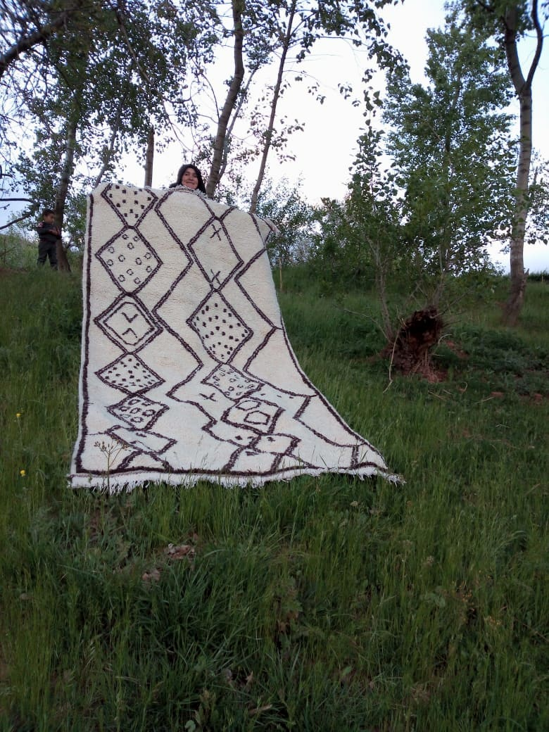 Beni Ourain Rug  Brown, White Morocco