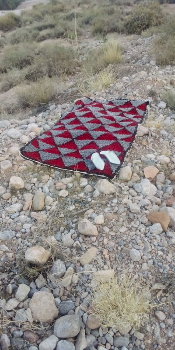 Pile Knot Rug  Red, Grey Morocco