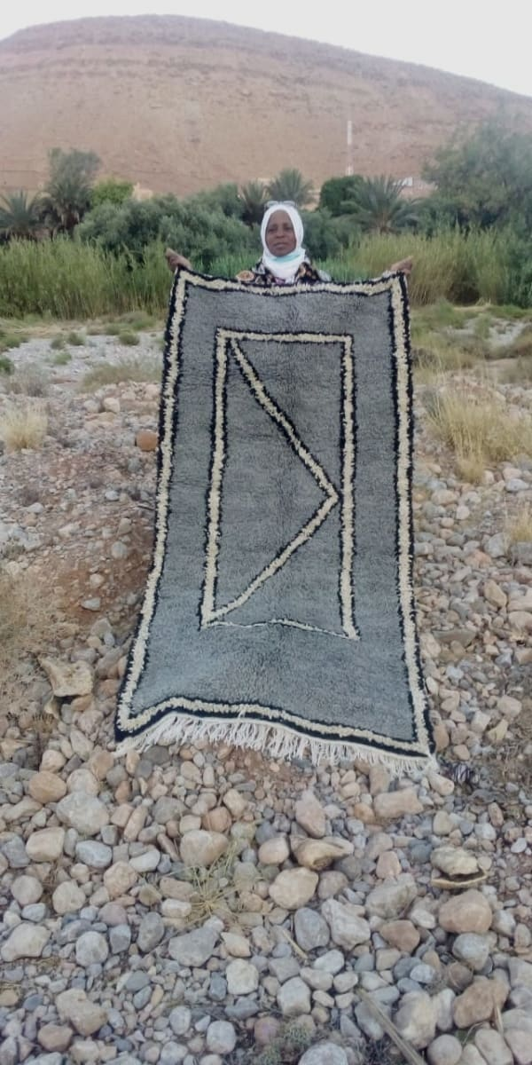Pile Knot Rug  Grey, Black Morocco