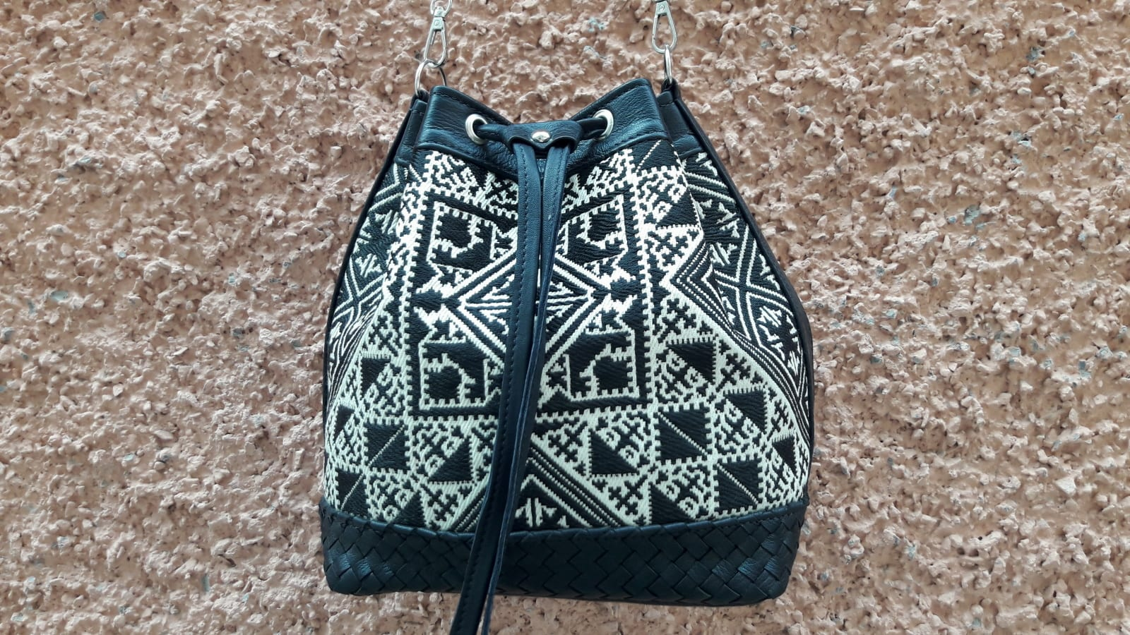 bag leather and Sabra silk Black, White Morocco