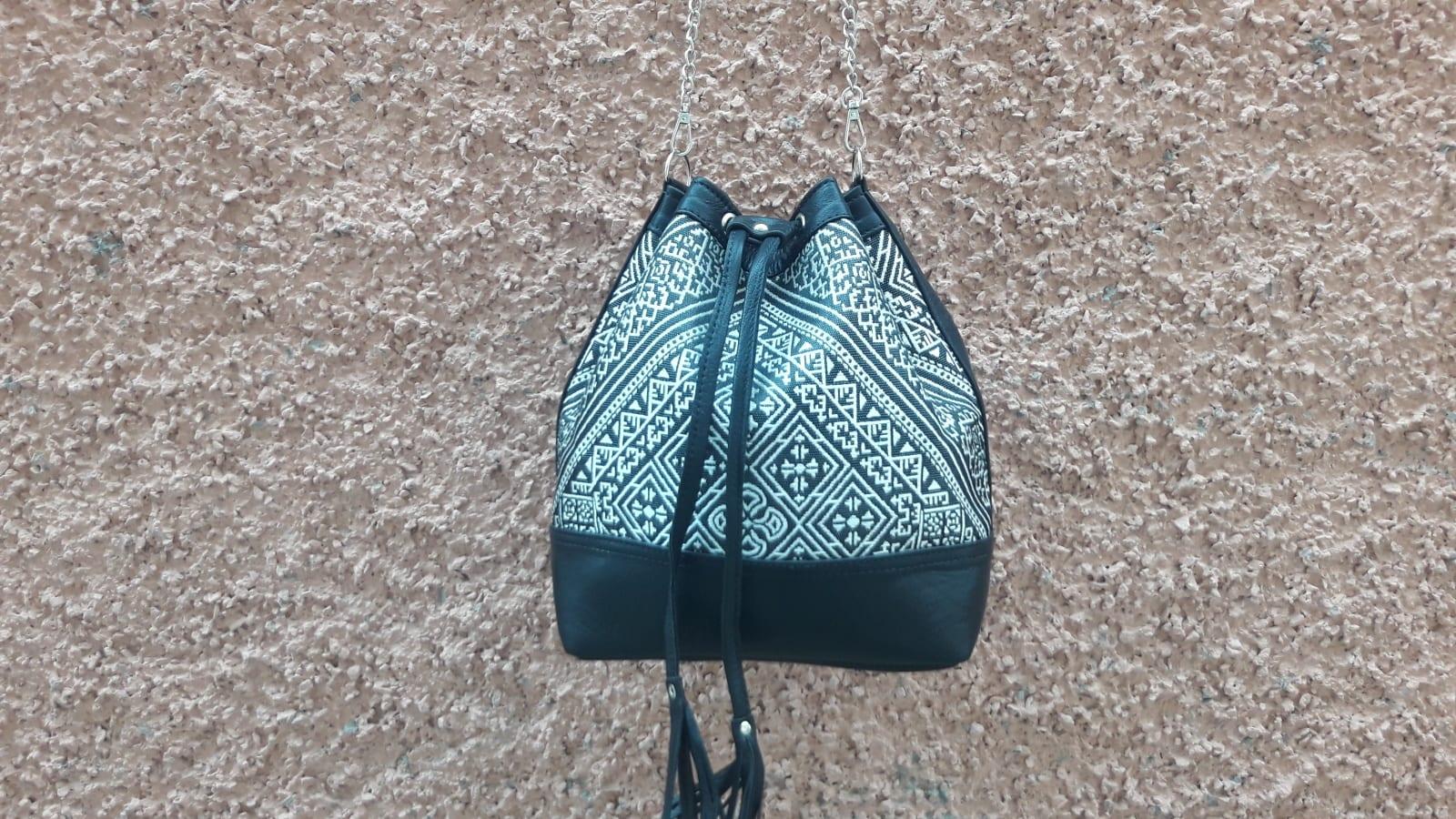 bag leather and Sabra silk Black, White Morocco