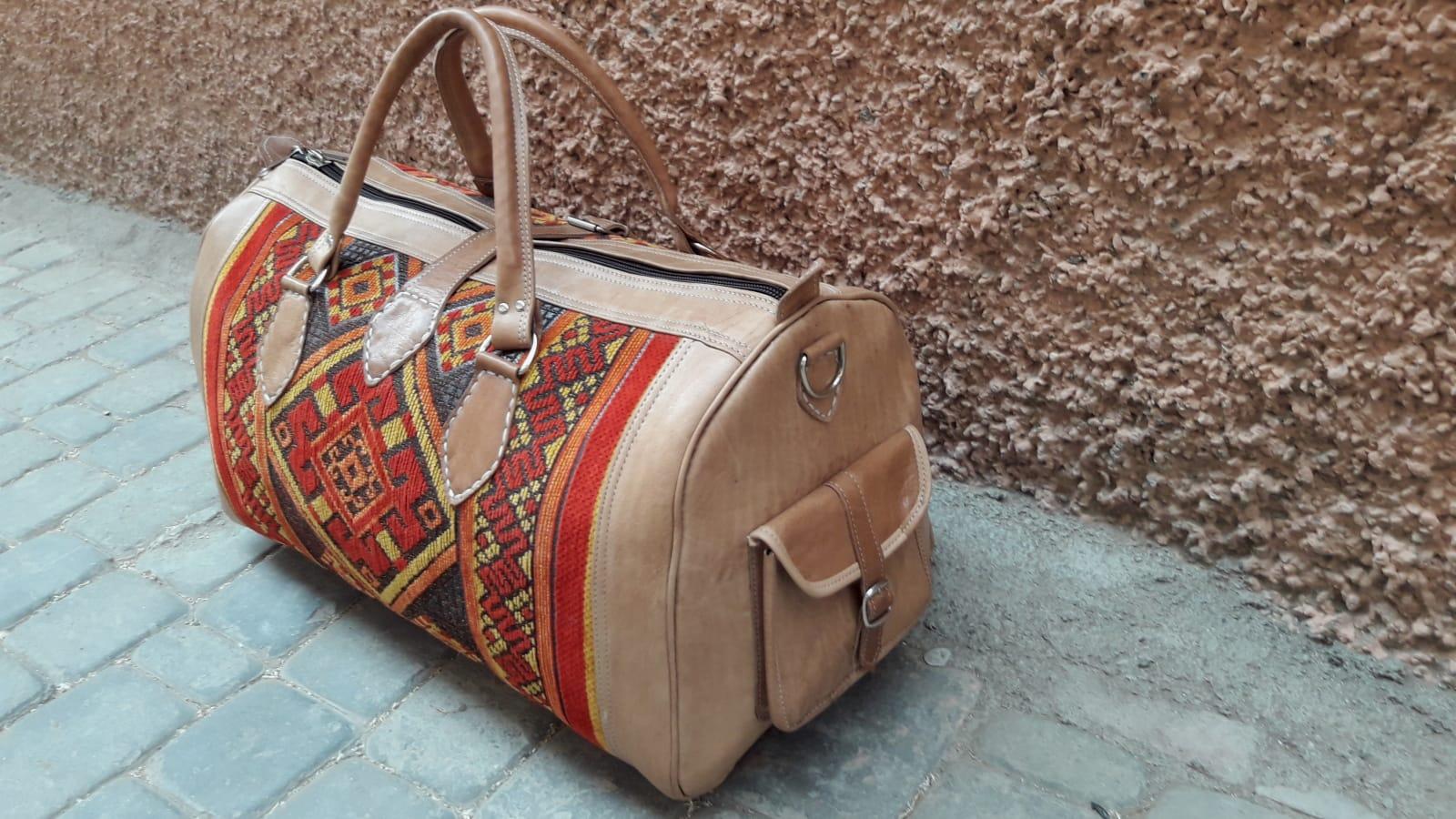 bag leather and Sabra silk Red, Yellow Morocco