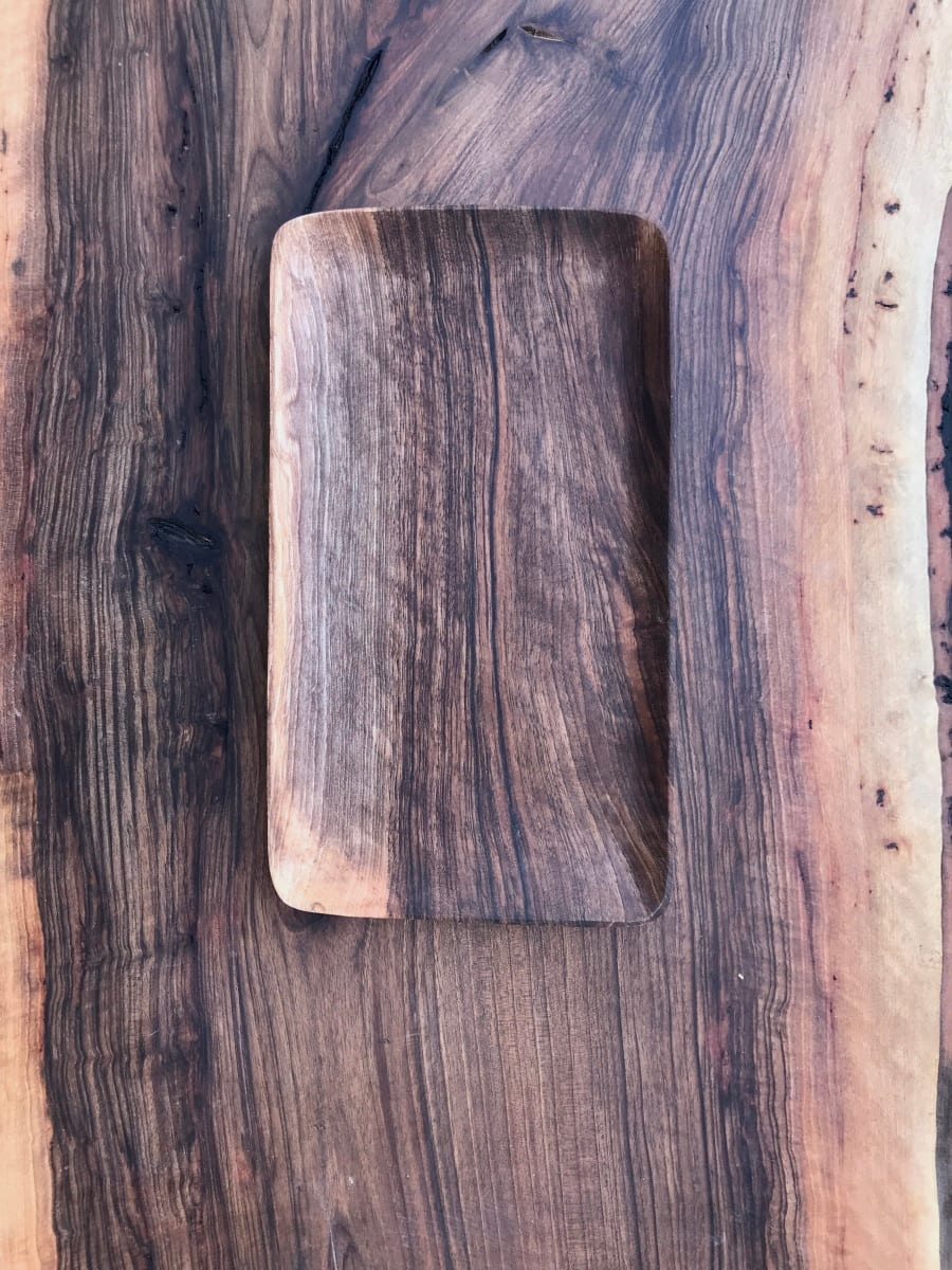Serving Tray Walnut Wood Brown Morocco