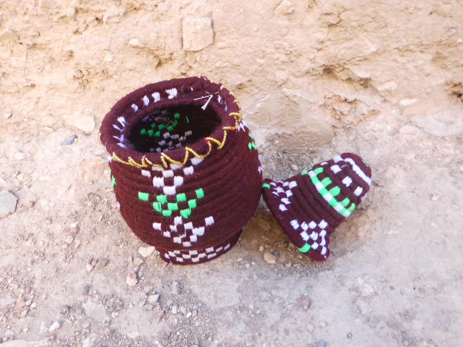 Woven Basket Assorted Threads Red, Green Morocco