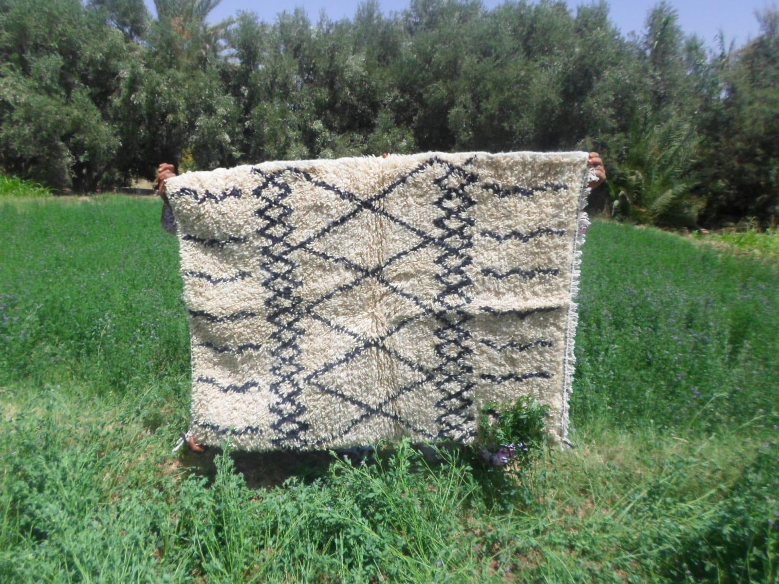 Pile Knot Rug Cotton Warp Black Morocco
