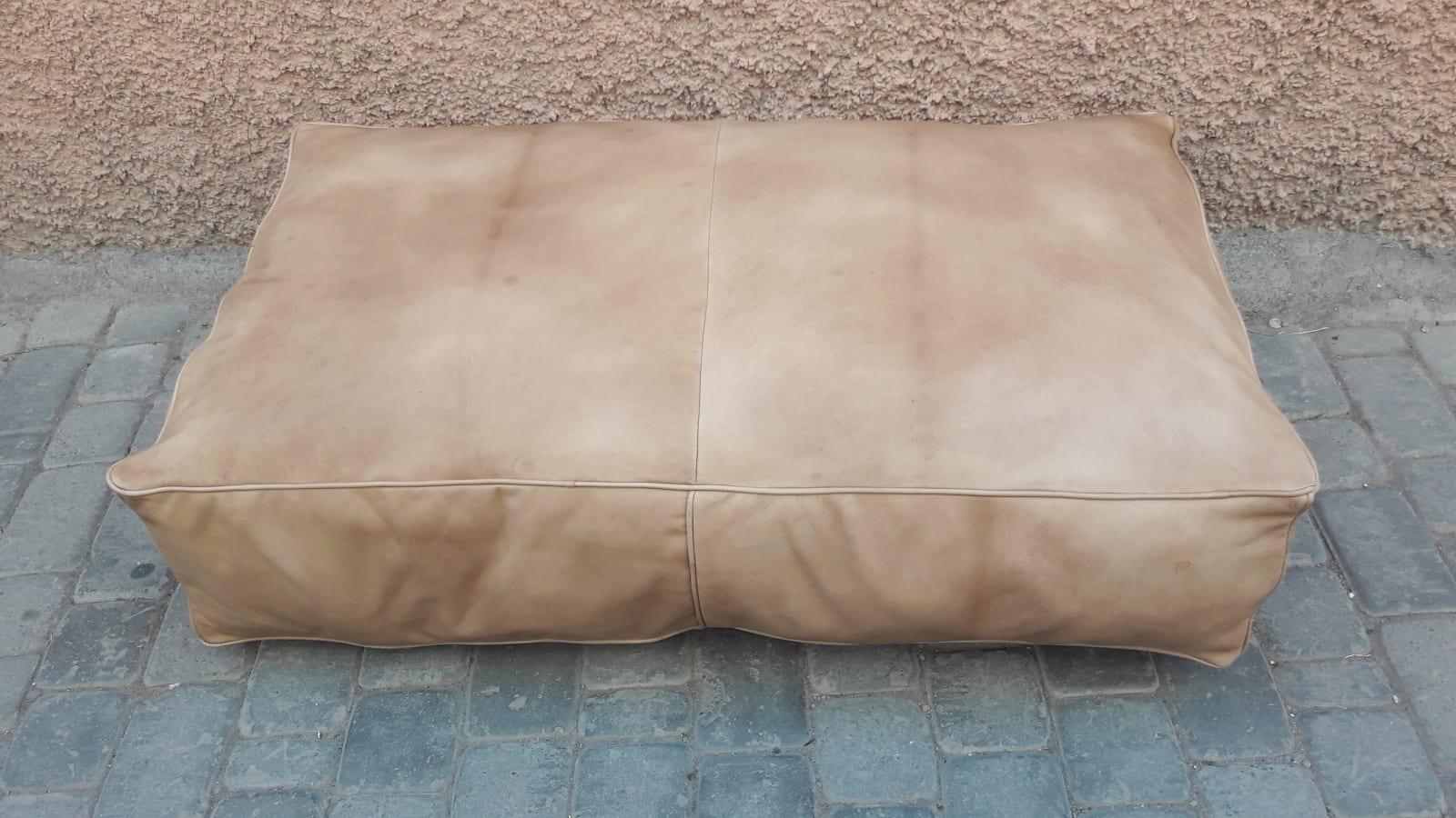 Pouf leather White Morocco