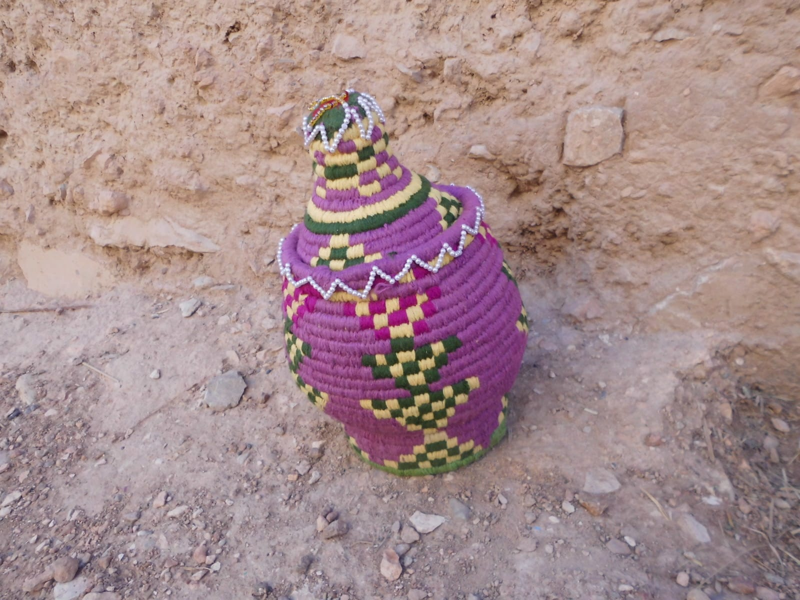 Woven Basket Assorted Threads Colored Morocco
