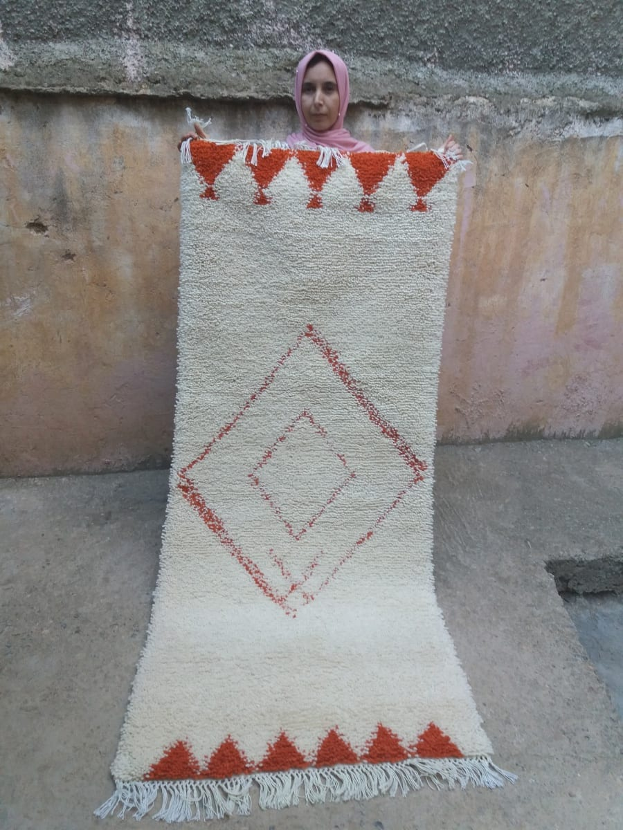 Pile Knot  Orange, White Morocco