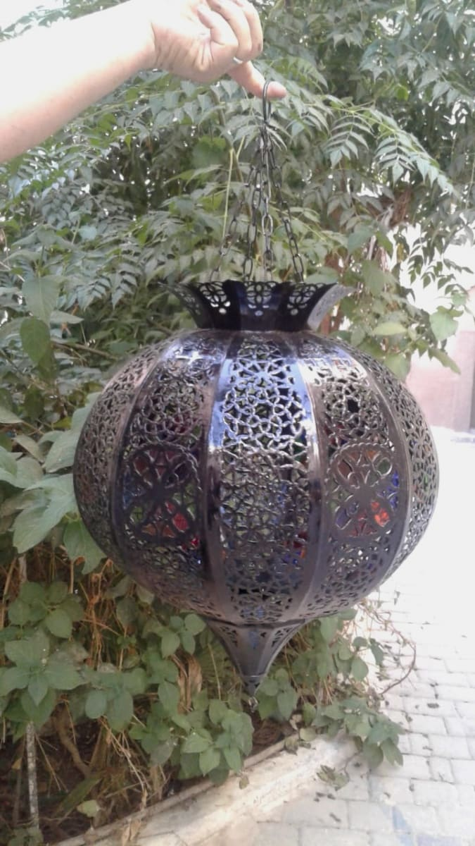 Chandelier Glass and Oil Finish Black Morocco