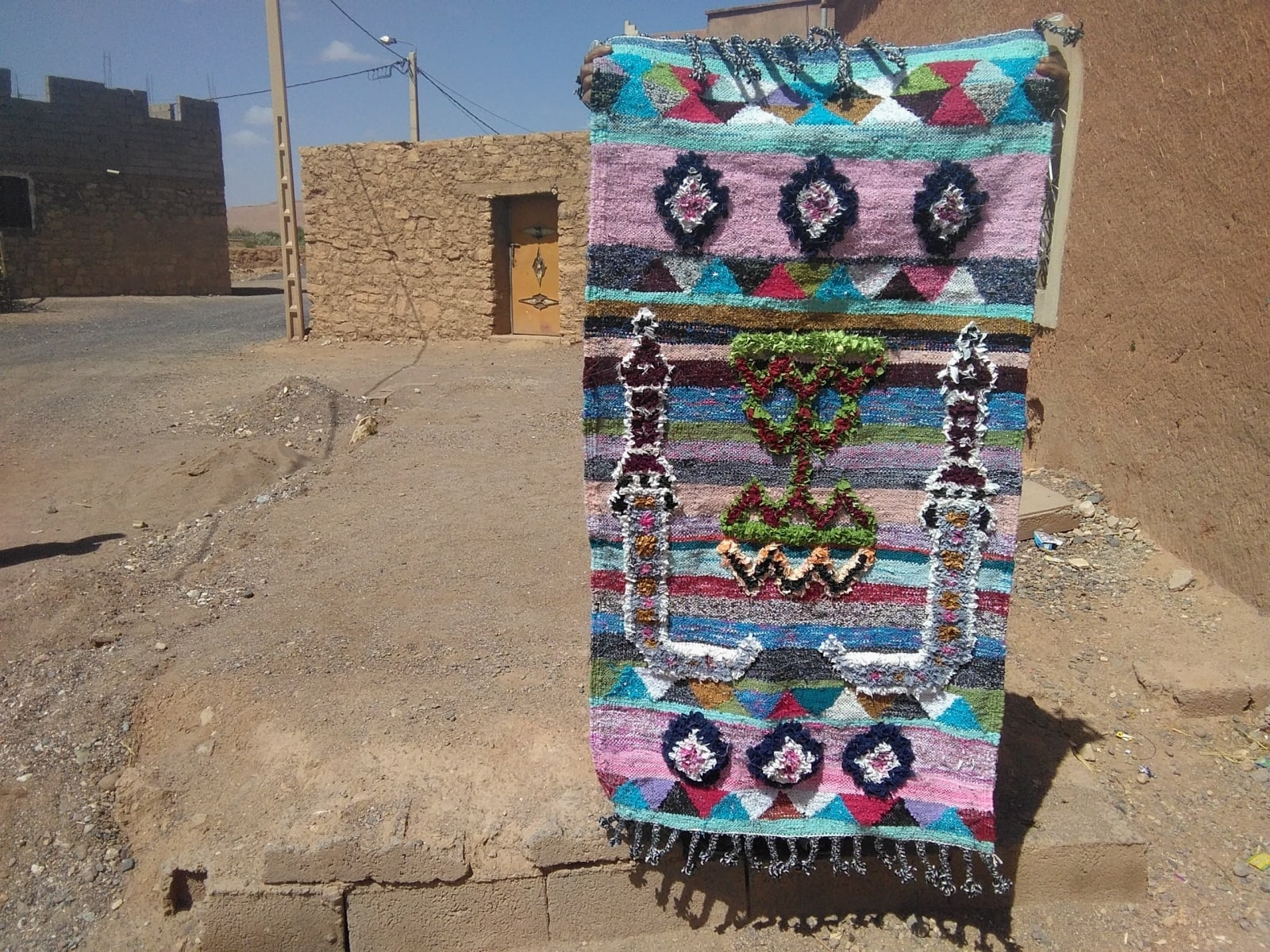 Pile Knot Rug  Up Cycled Thread  Colored Morocco