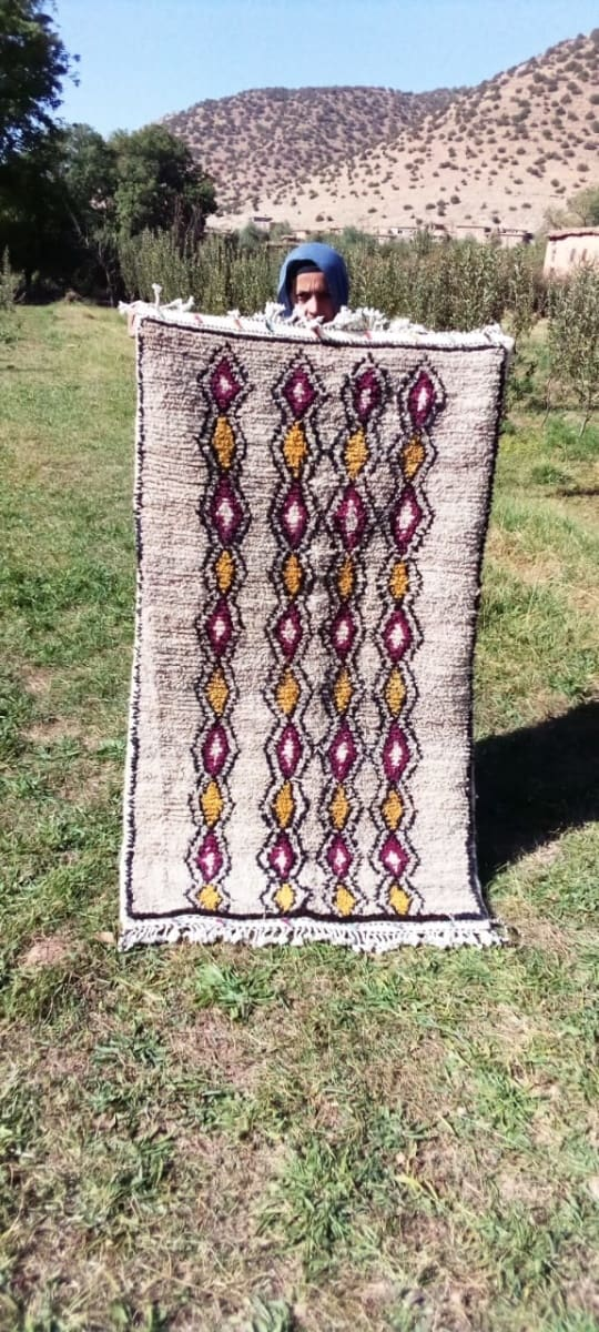 Beni Ourain Rug Wool  and Thread Colored Morocco