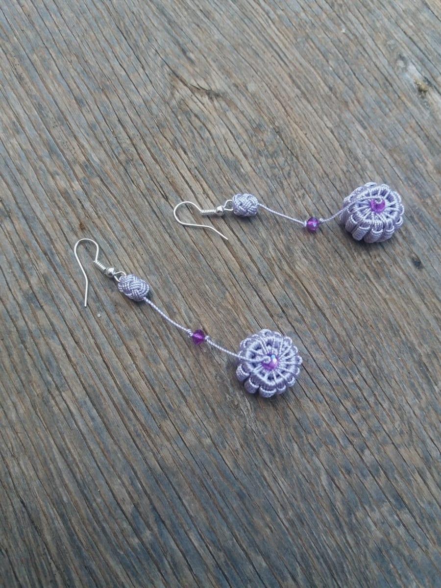Multi Button Earrings  Purple Morocco