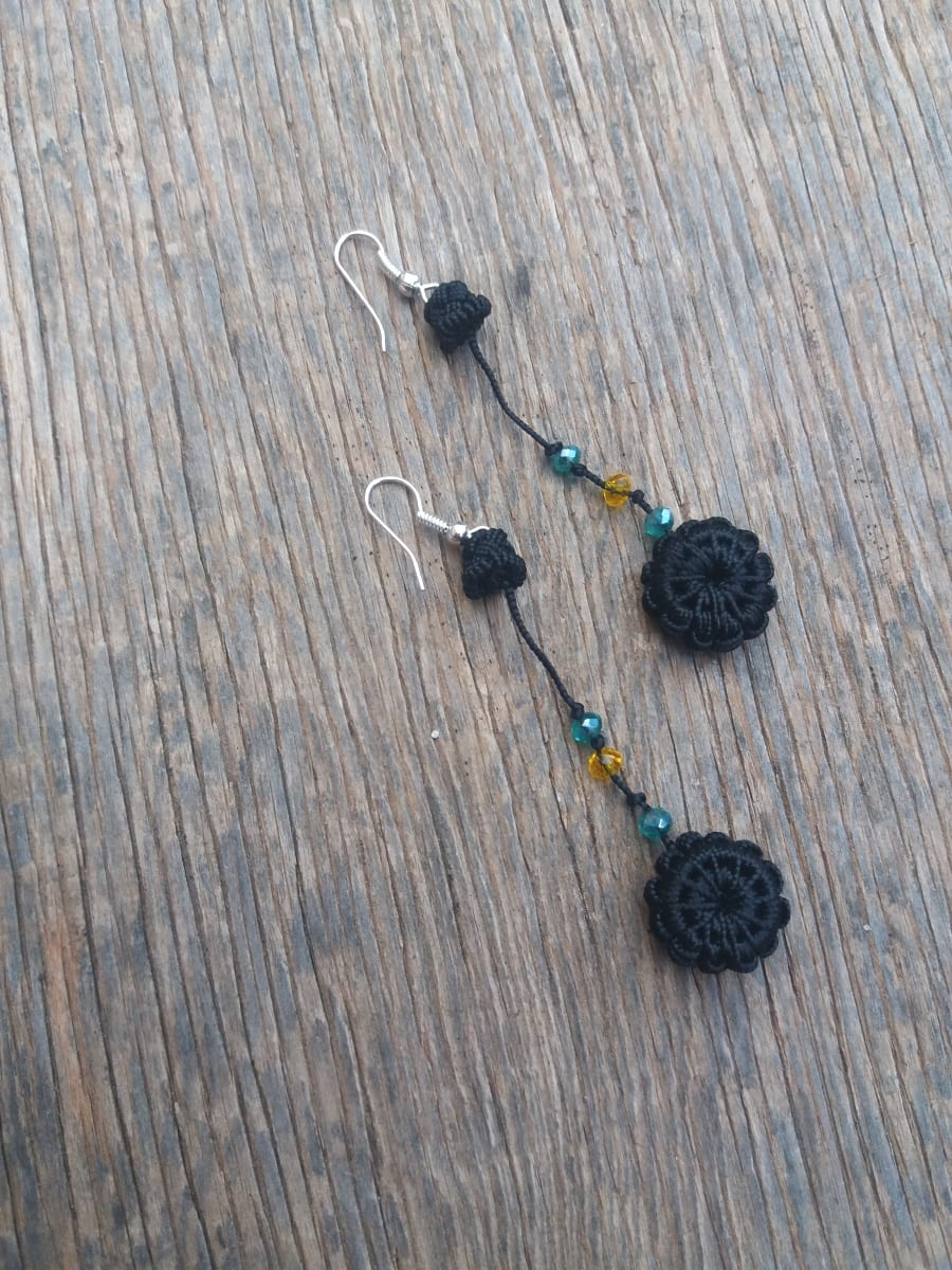 Multi Button Earrings  Black Morocco