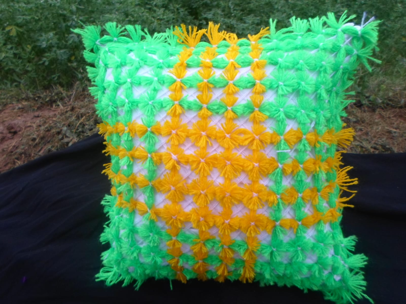 Decorative Pillow  Green, White Morocco