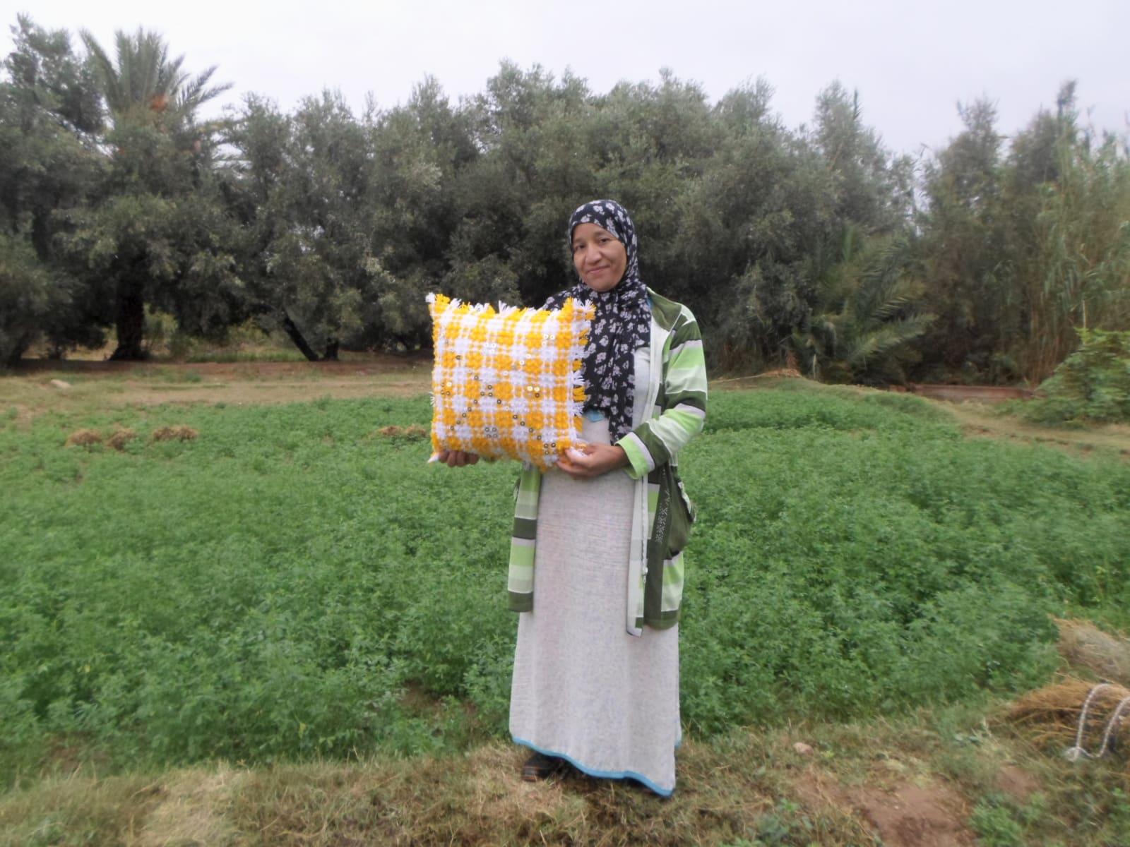 Decorative Pillow  Yellow, White Morocco