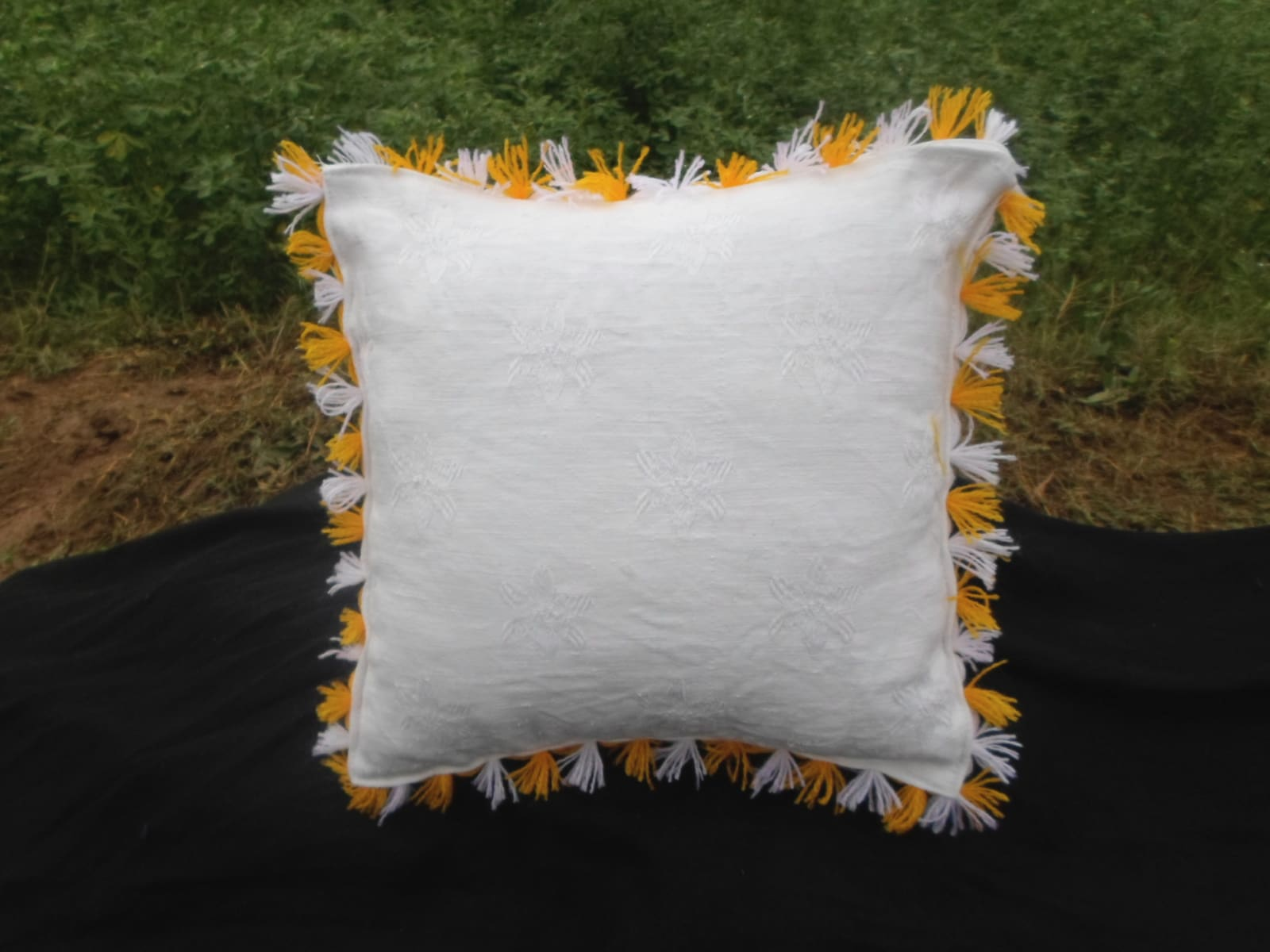 Decorative Pillow  Yellow, White Morocco