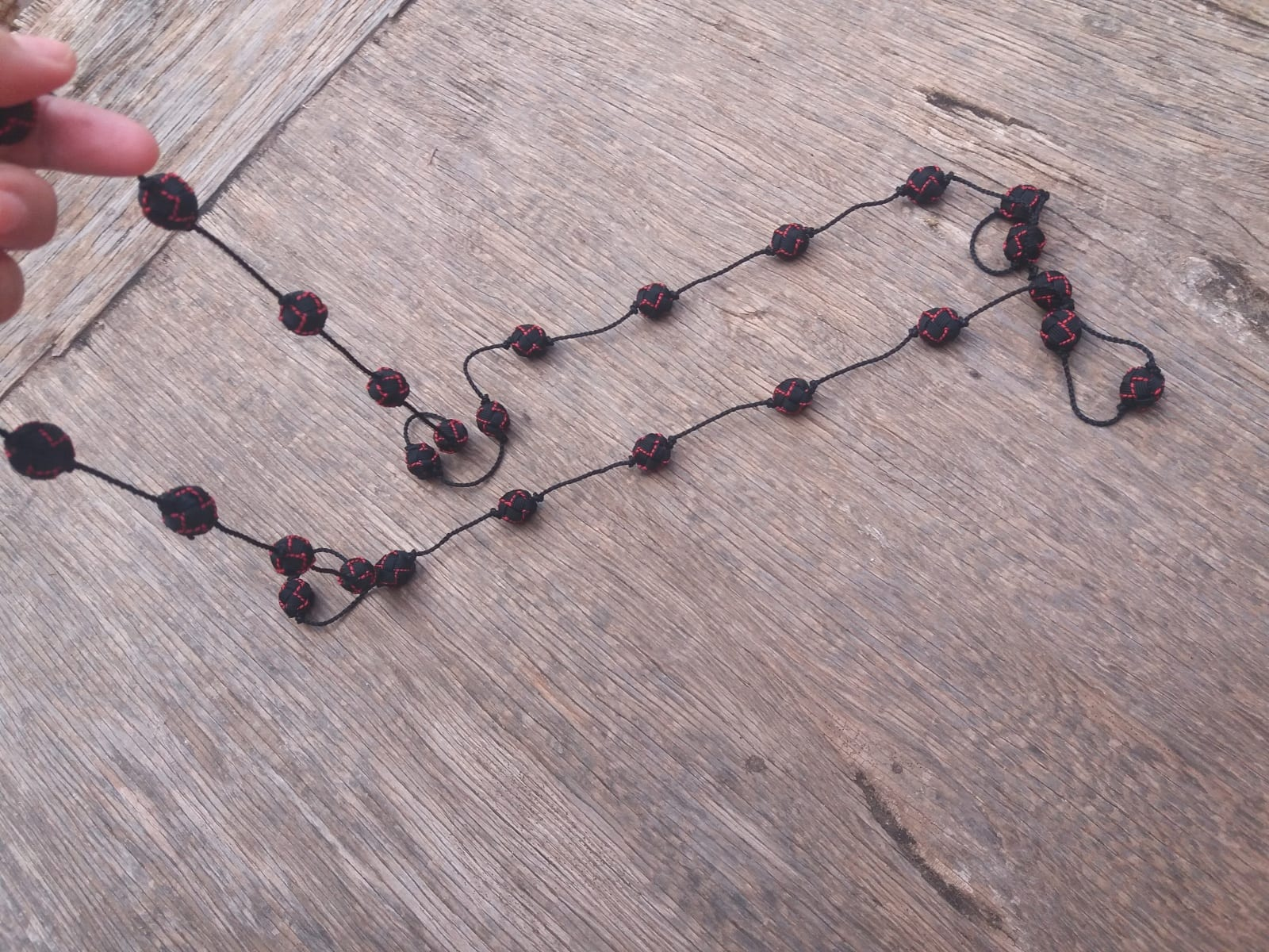 Long Strand Necklace  Red, Black Morocco