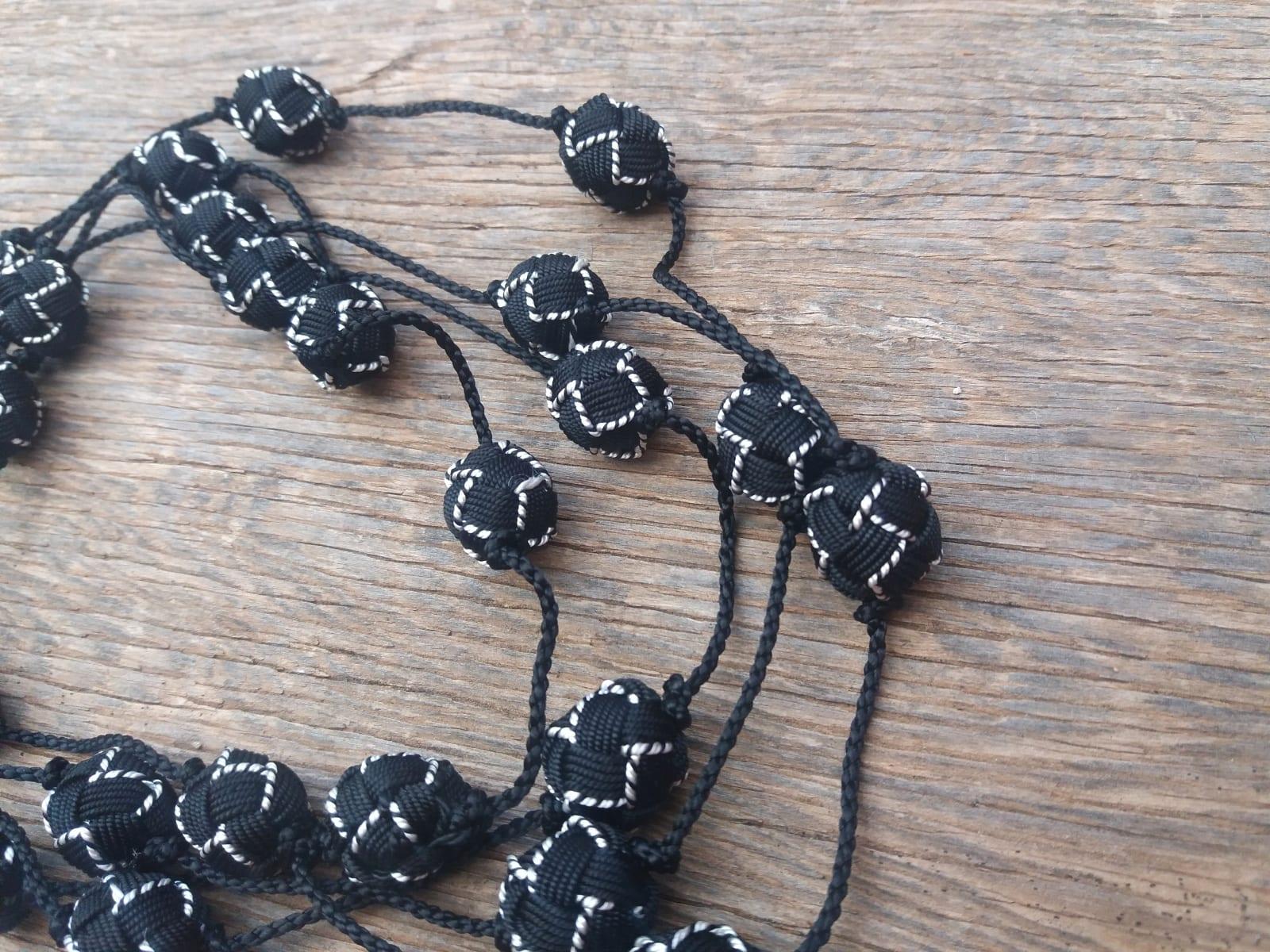 Long Strand Necklace  Black, White Morocco