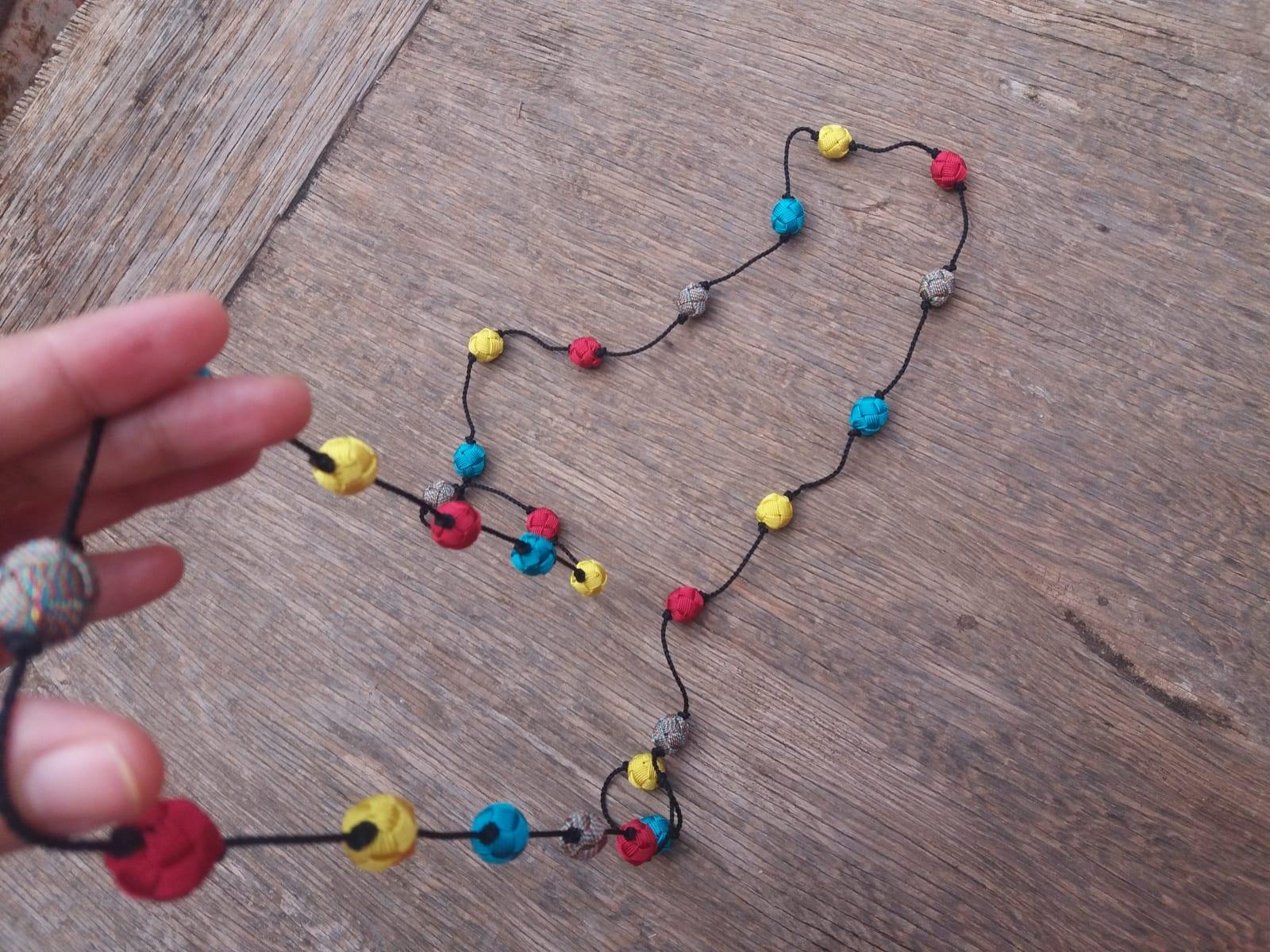 Long Strand Necklace  Light Blue, Pink Morocco