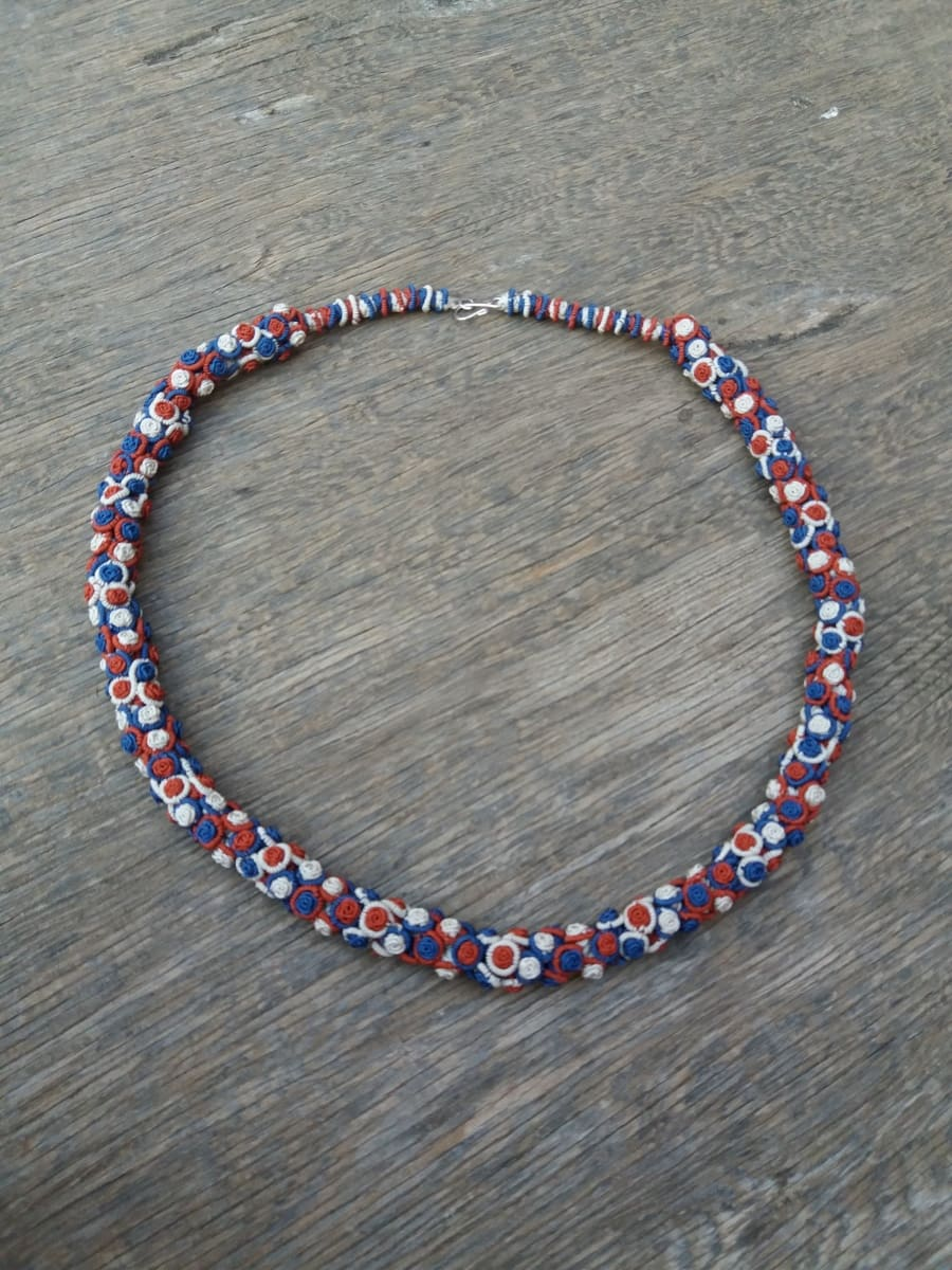 Cluster Necklace  Red, Blue Morocco