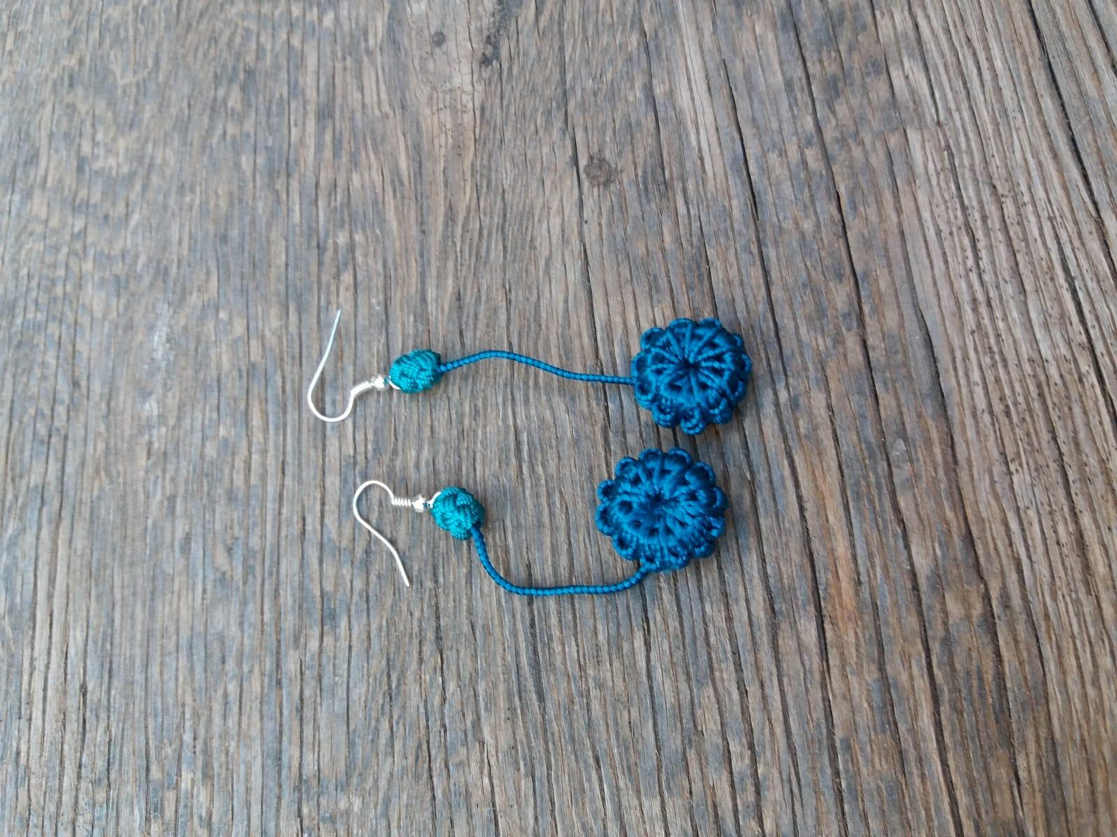 Multi Button Earrings  Green Morocco
